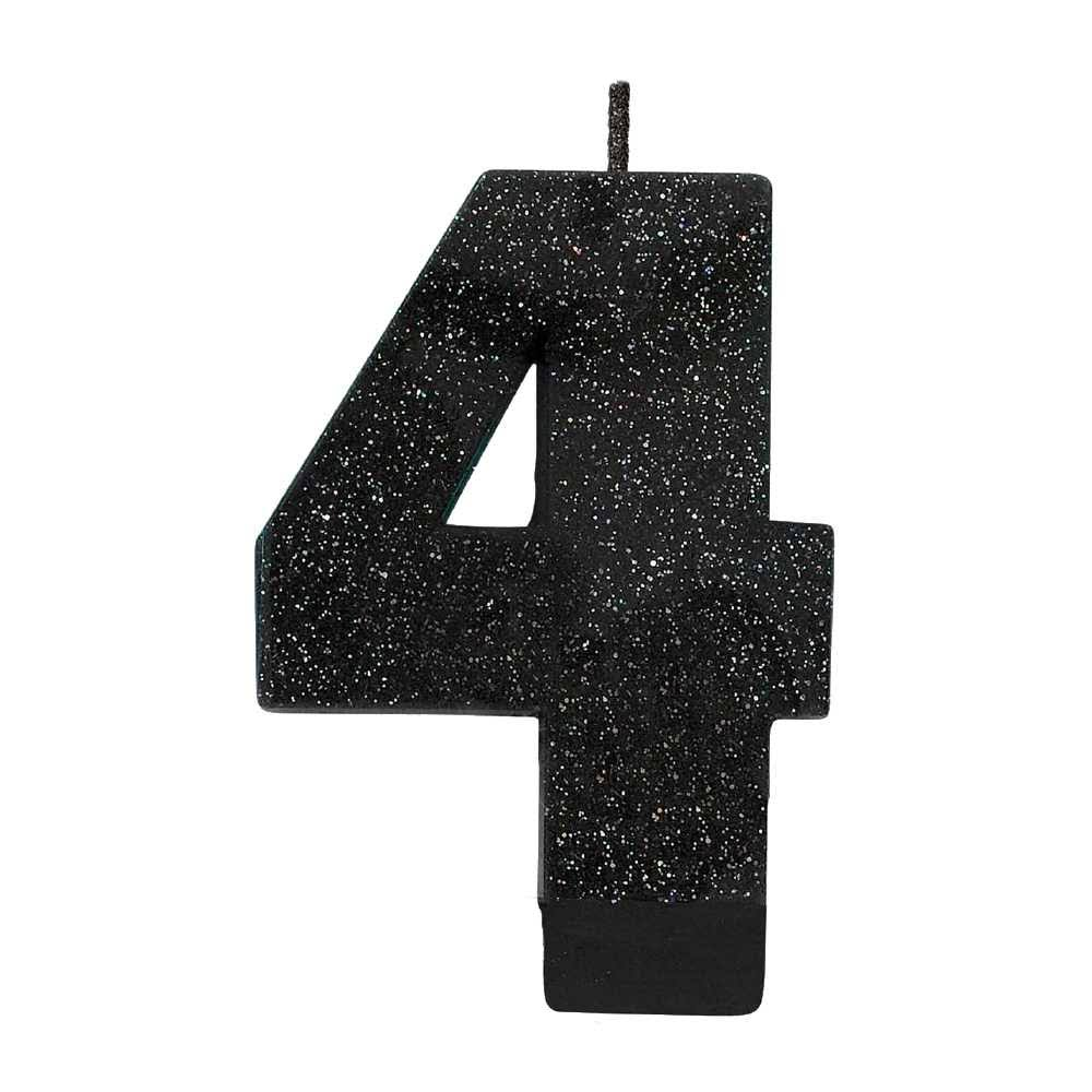 "Black #4 Birthday Glitter 3.25"" Numeral Candle"
