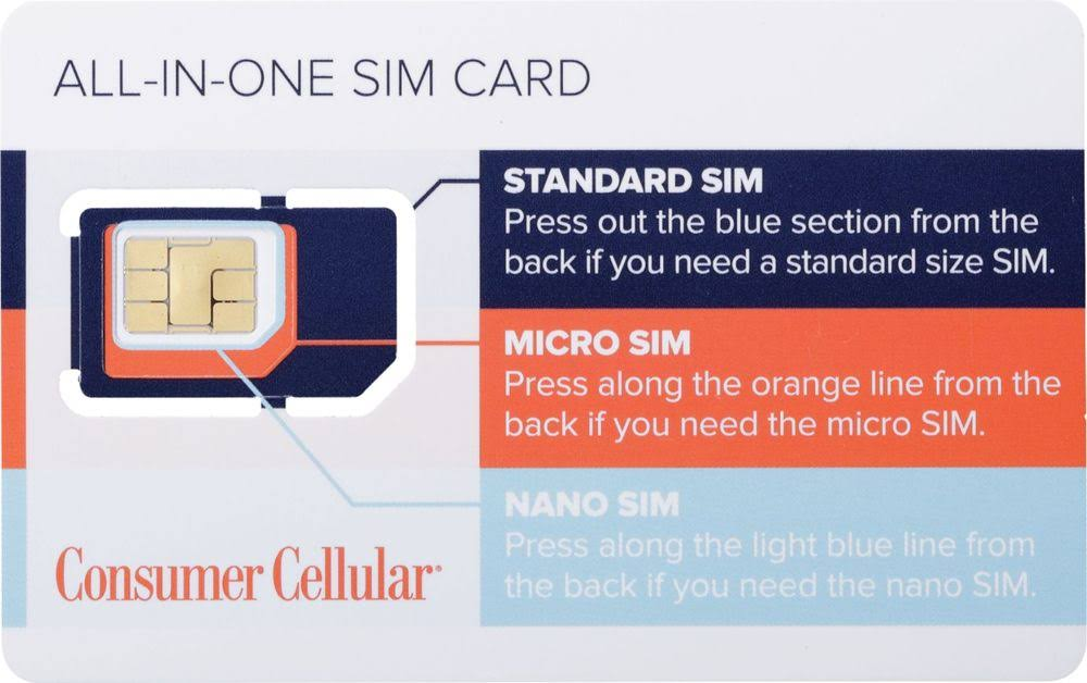 Consumer Cellular All In One SIM Card - White