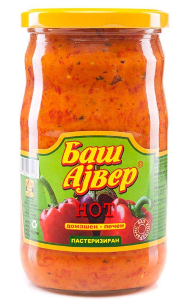 Bas Ajvar Homemade Hot Roasted Pepper and Eggplant Spread - 720ml