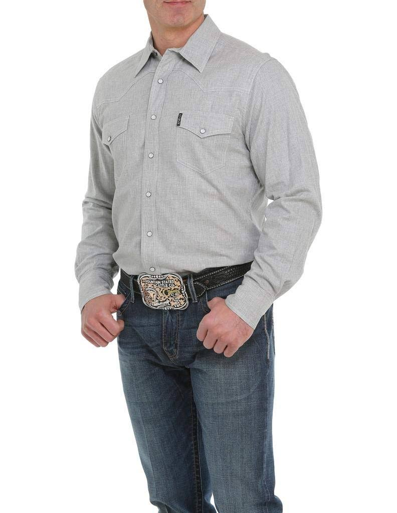Cinch Western Shirt Mens Snap L/S Solid MTW1312036 Heather Gray