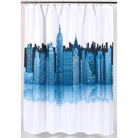 Carnation Home Fashions Cityscape Fabric Shower Curtain