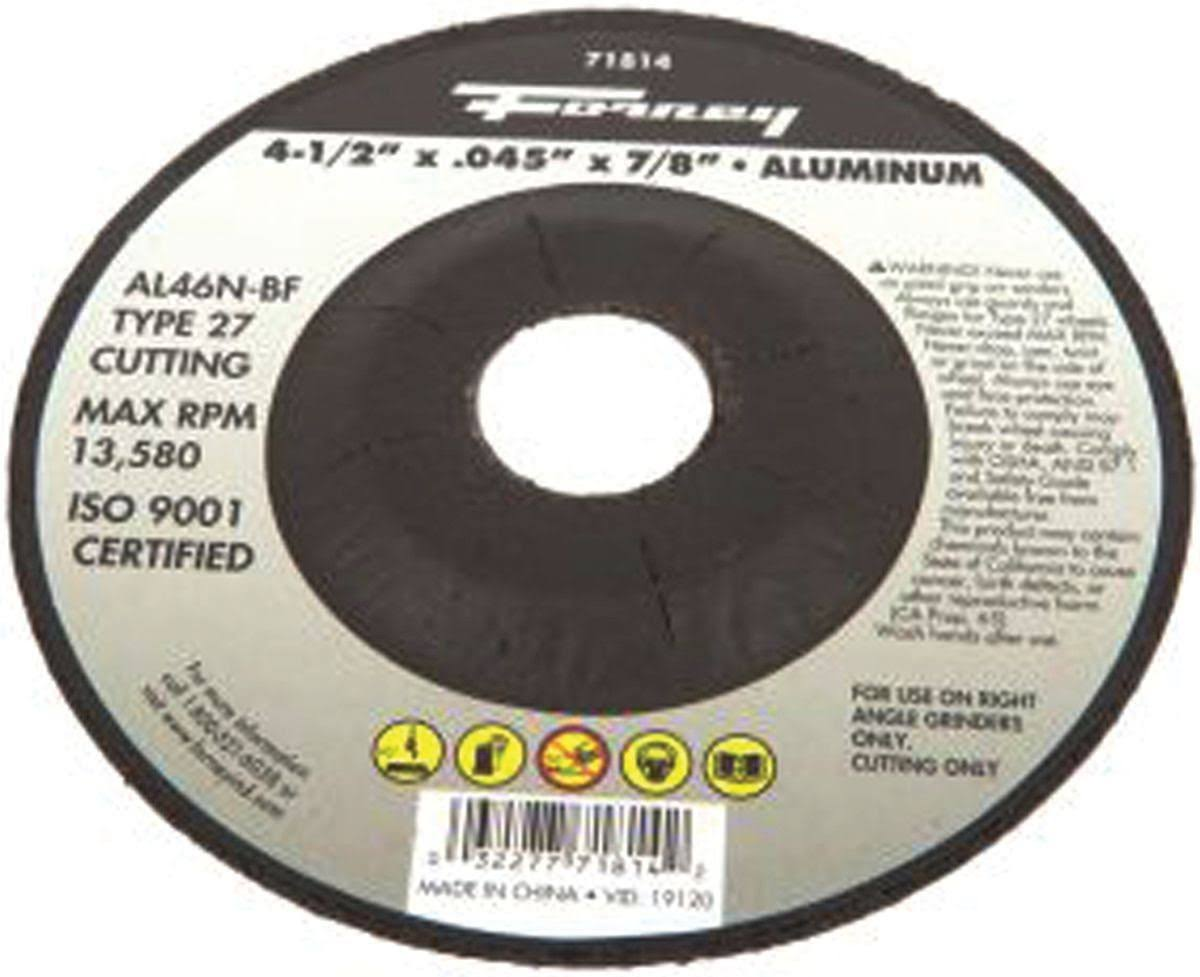 "Forney Industries Type 27 Circular Shape Depressed Center Cut-off Wheel - 4.5"" X 0.045"" X 7/8"""