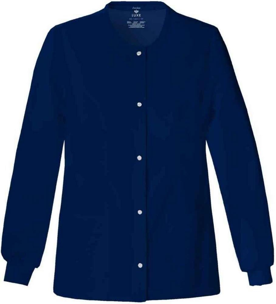 Cherokee Luxe Women's Snap Front Warm Up Scrub Jacket - Navy, Large