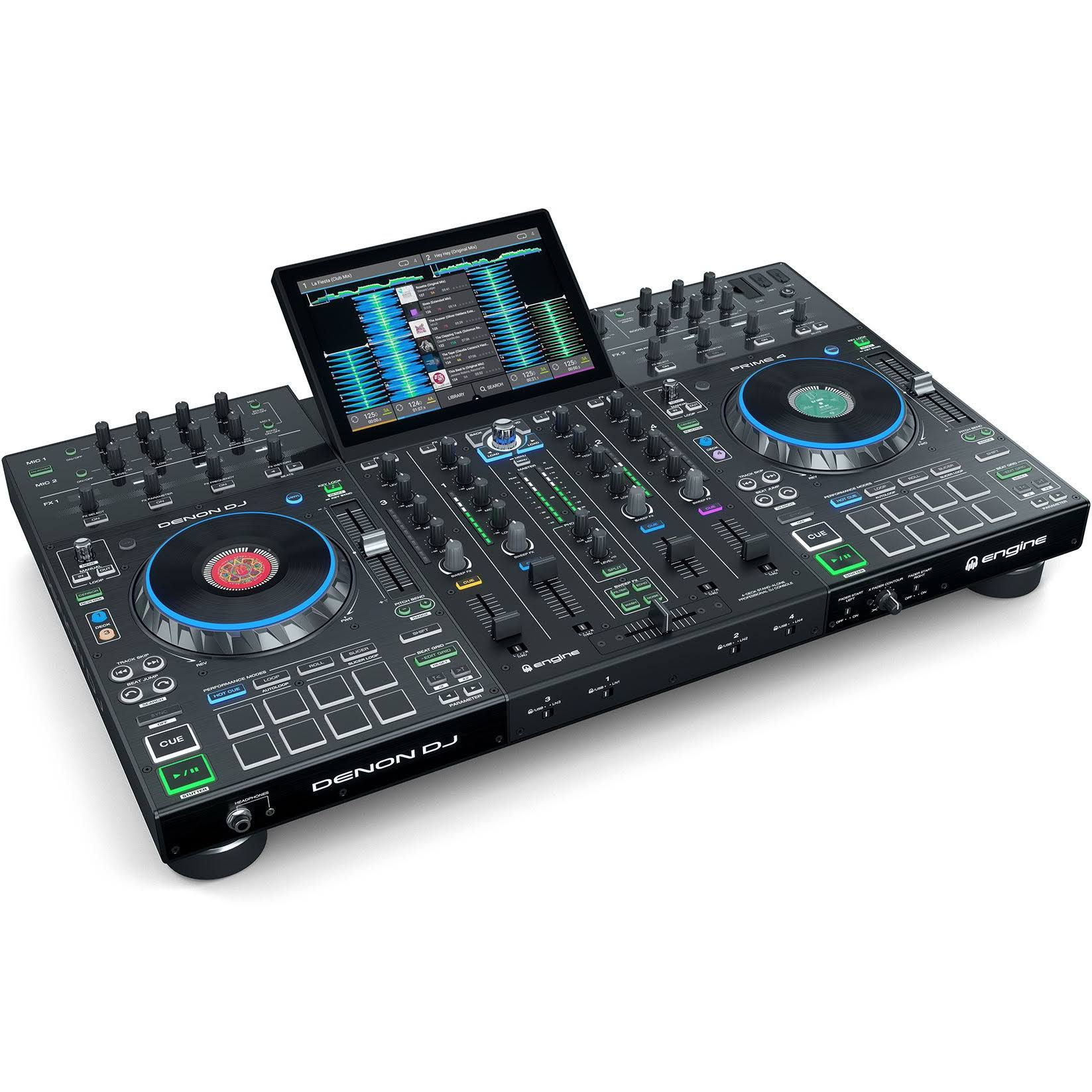 Denon DJ Prime 4 4-Deck Standalone DJ System with 10-inch Touchscreen