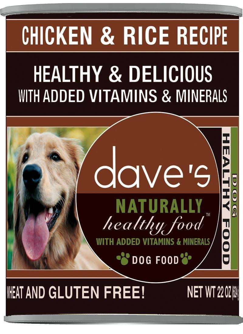 Dave's Naturally Healthy Chicken & Rice Wet Dog Food 22 oz