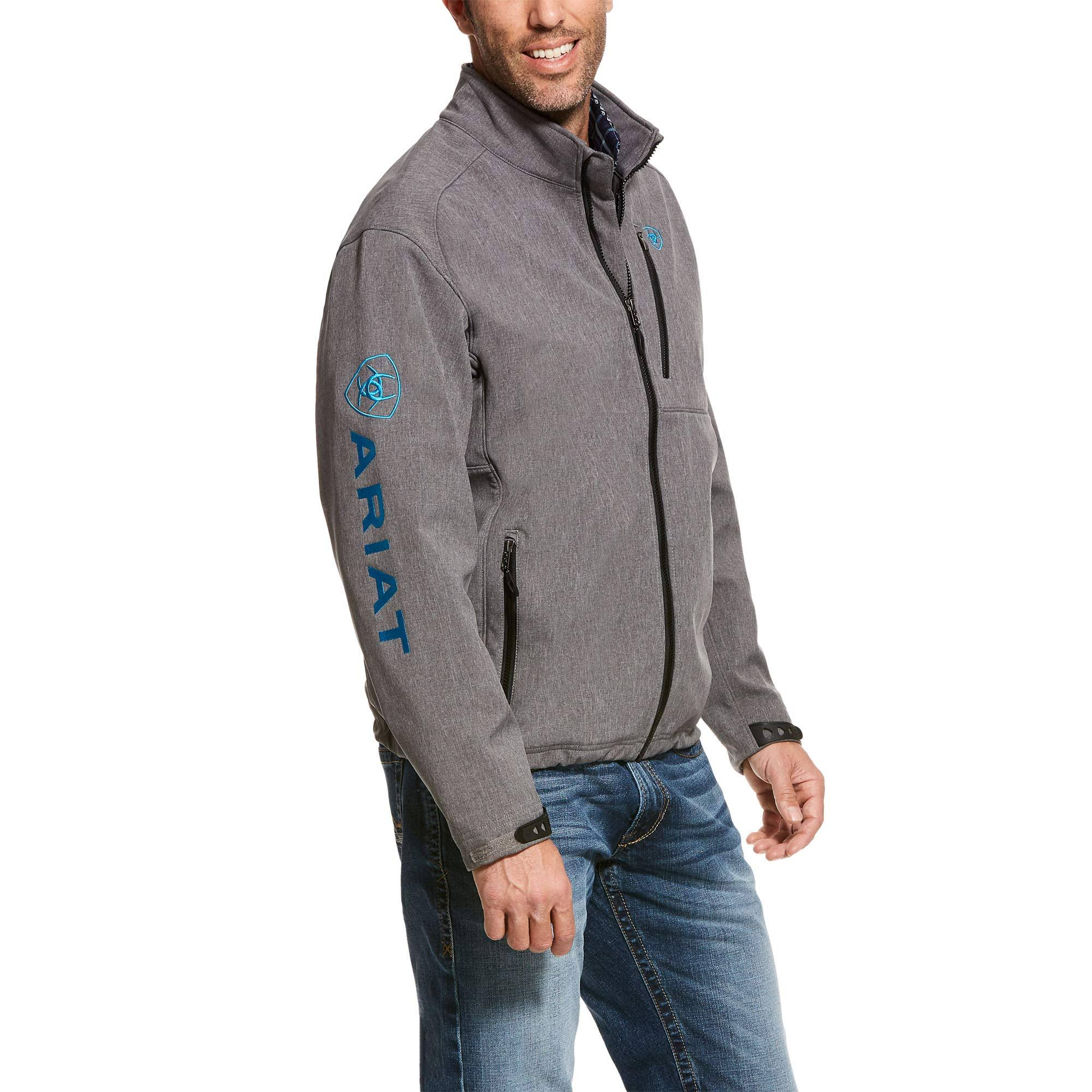 Ariat Men's Logo 2.0 Charcoal Grey & Blue Softshell Jacket 10028291