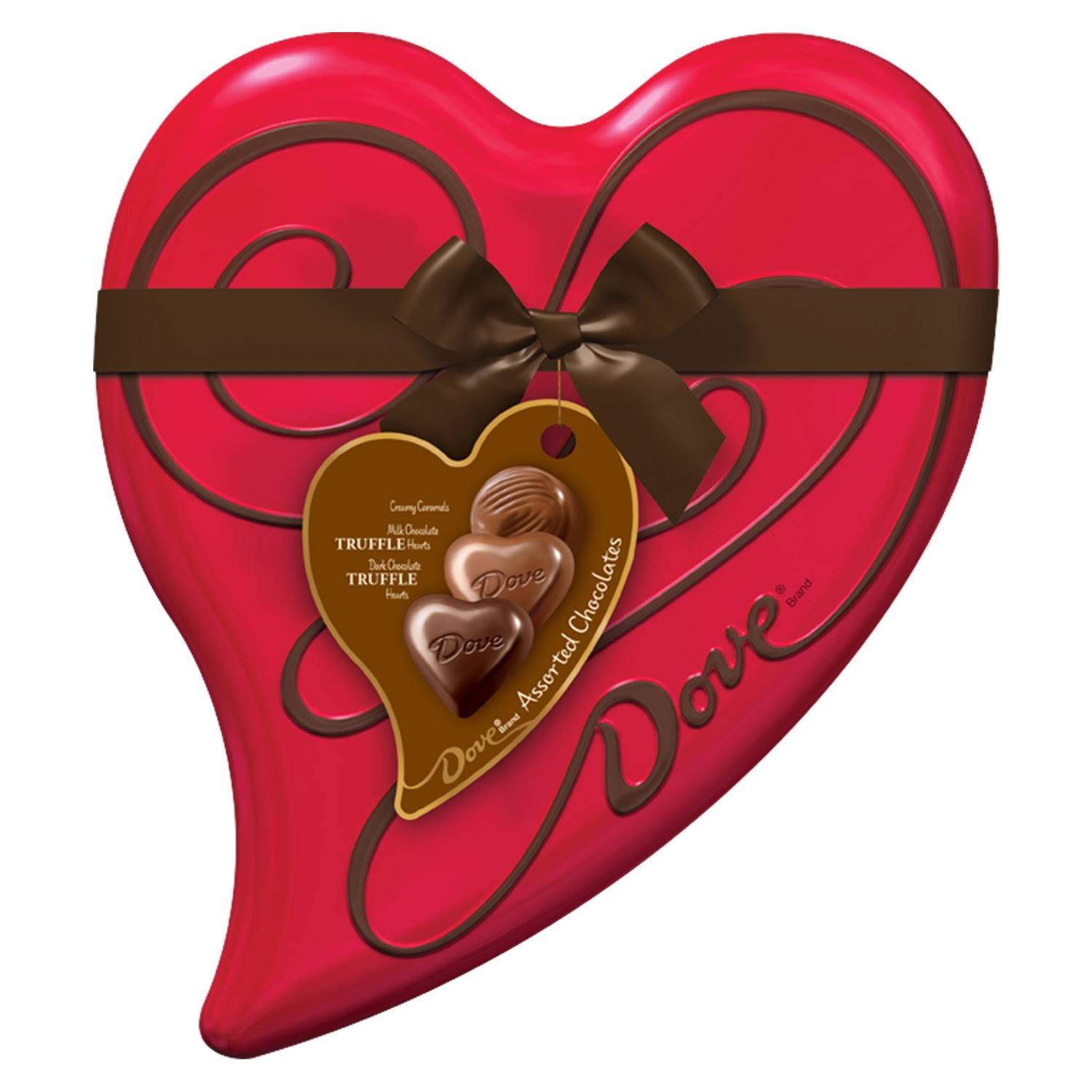 Dove Valentine Candy Tin Heart Box Assorted Chocolates - 6.5oz