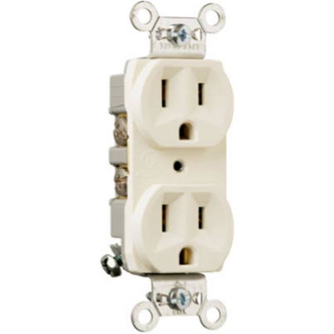 Pass and Seymour CRB5262LACC12 Duplex Outlet - Light Almond, 15amp, 125V