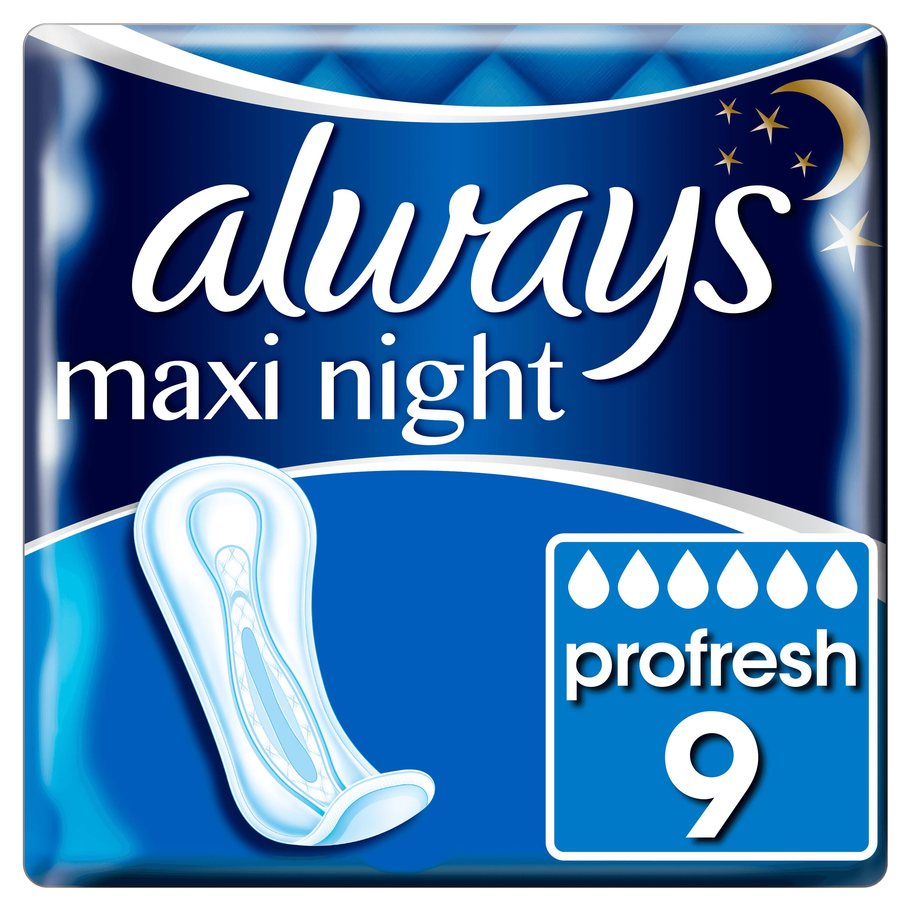 Always Maxi Night Pro Fresh Night Tie without Wings Sanitary Pads - 9ct