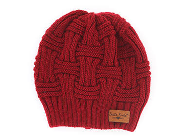 D. M. Knit Beanie - Burgundy, 4pcs