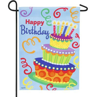 Evergreen Happy Birthday Garden Suede Flag