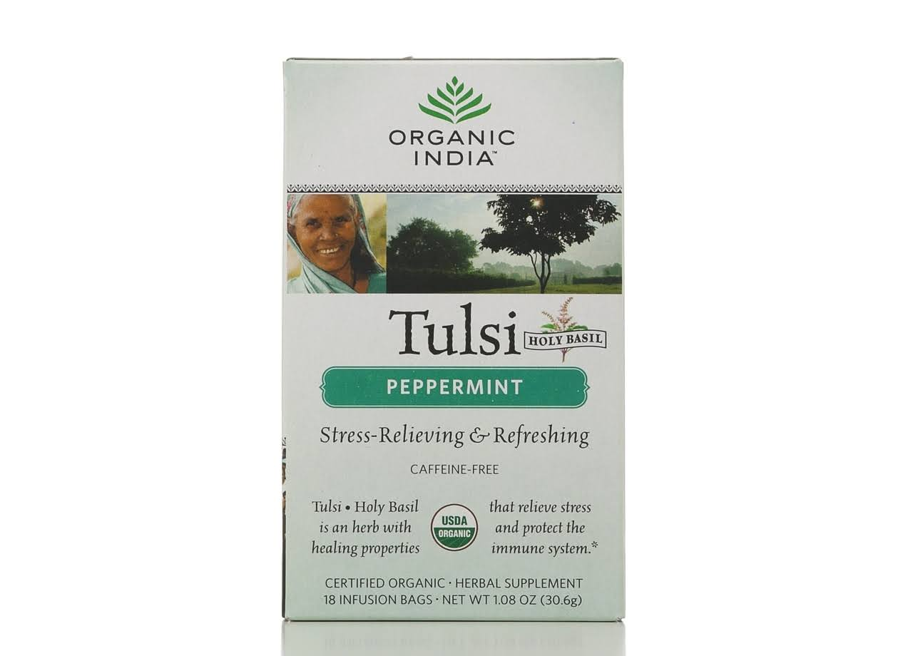 Organic India Tulsi Tea - Peppermint, 18 Tea Bags, 30.6g