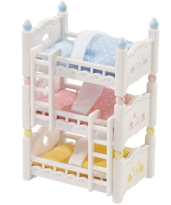 Calico Critters Baby Friends Triplets with Triple Baby Bunk Beds-New