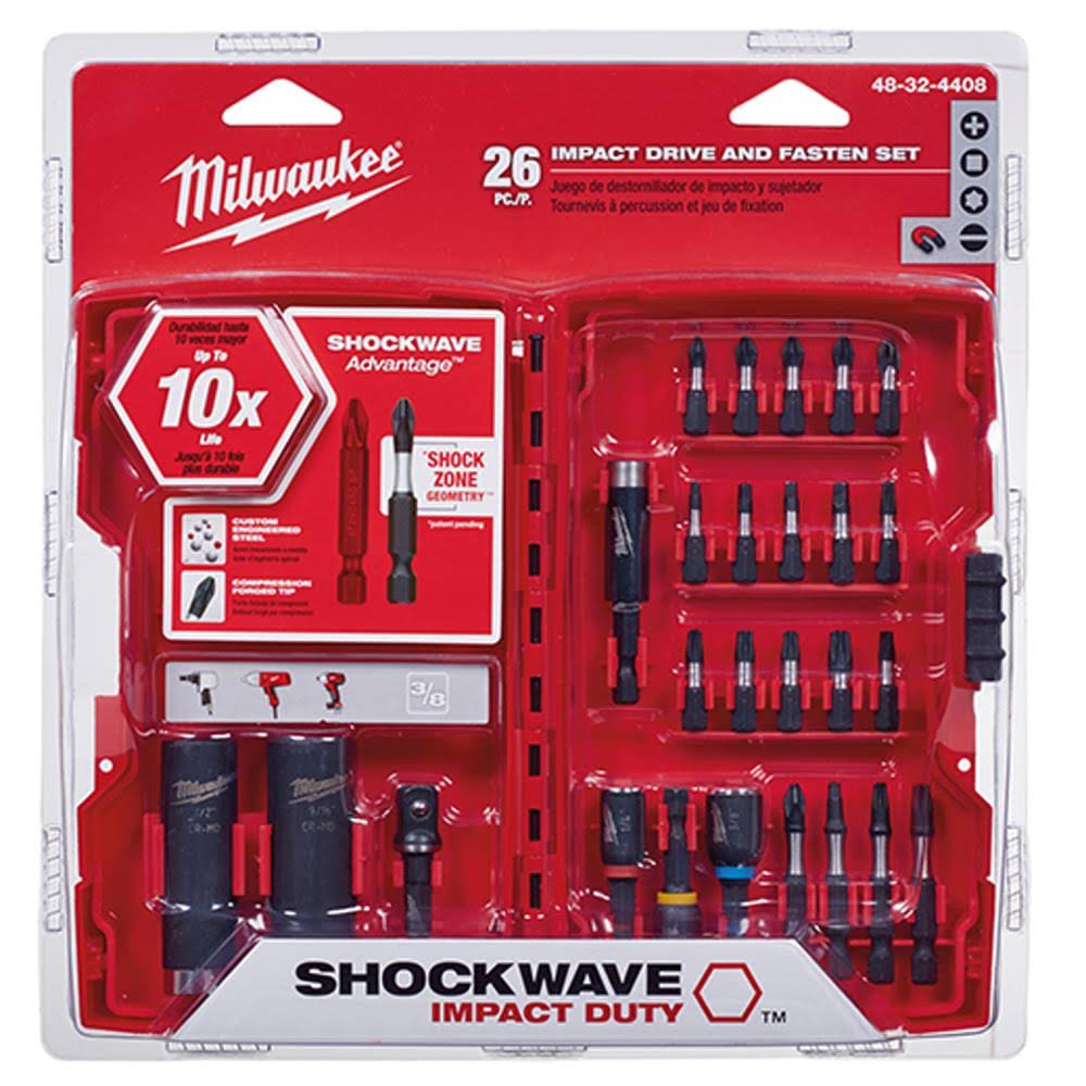 Milwaukee Shockwave Impact Duty Drive And Fasten Bit Set - 26 Pieces