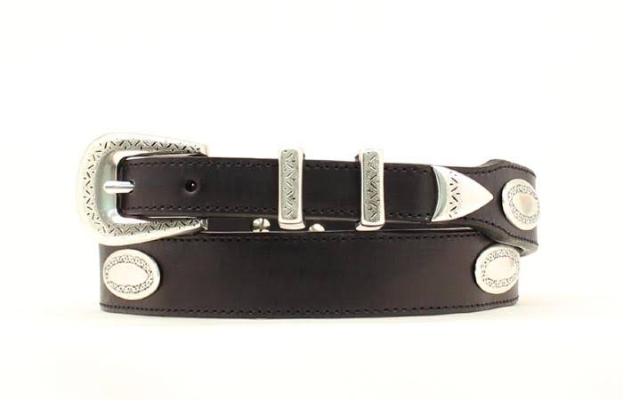 Nocona Men's Top Hand Tapered Oval Conchos Belt - Black, 36""