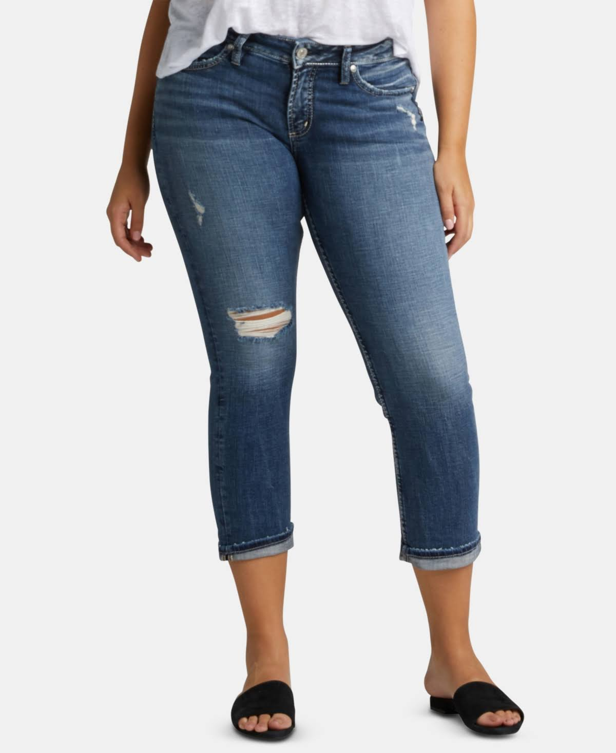 Silver Jeans Co. Elyse Destructed Capri Jeans - Indigo 30