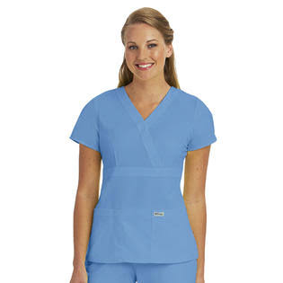 Grey's Anatomy Women's Mock Wrap Top - Blue, Medium, 3 Pocket
