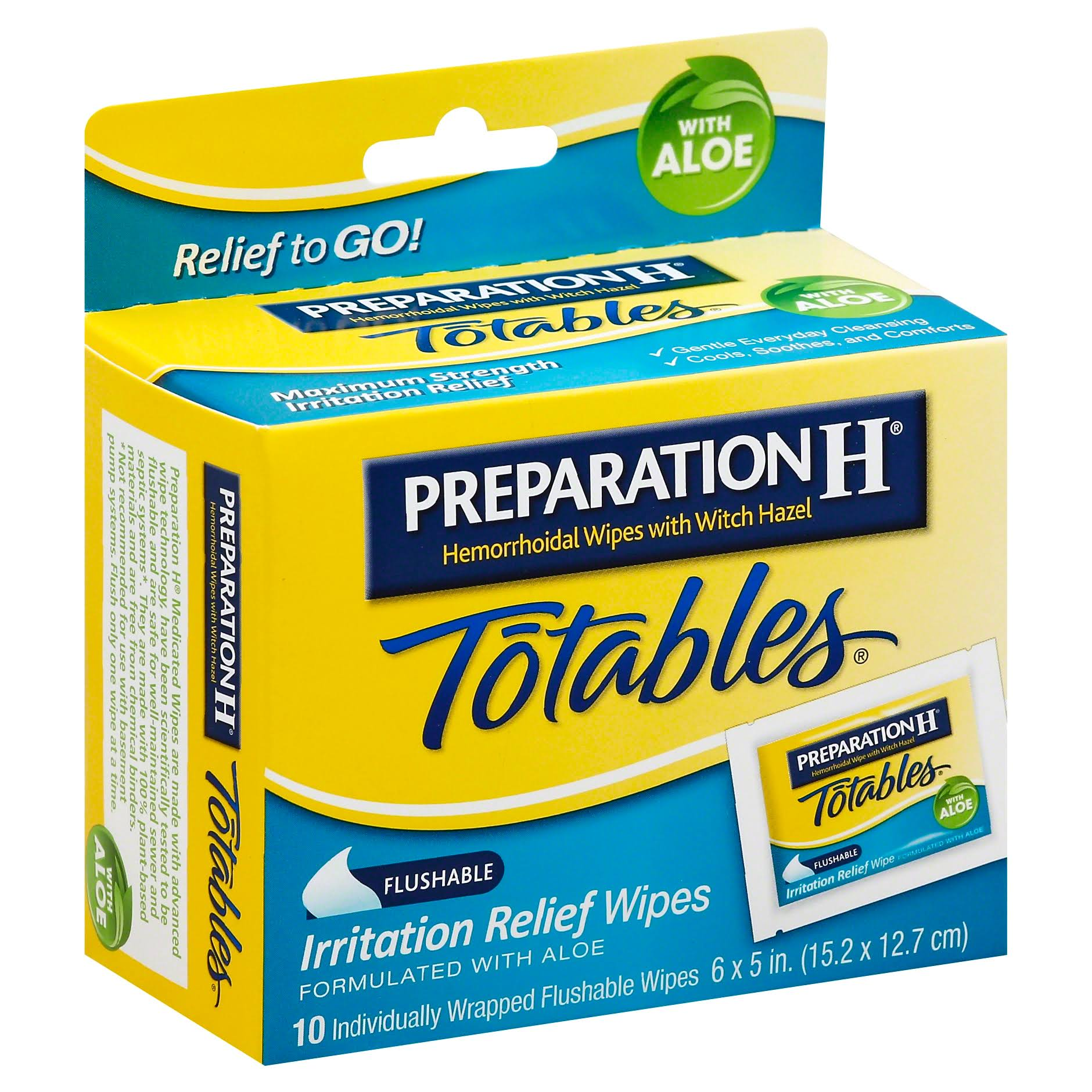 Preparation H Totables Irritation Relief Wipes with Aloe - x10