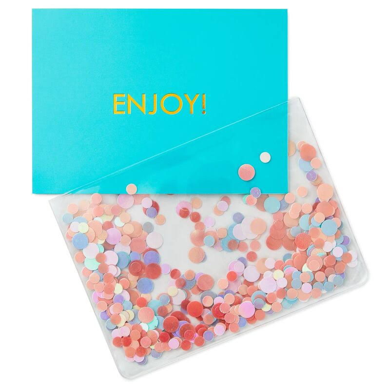 Clear Vinyl Gift Card Holder Pouch with Sequins
