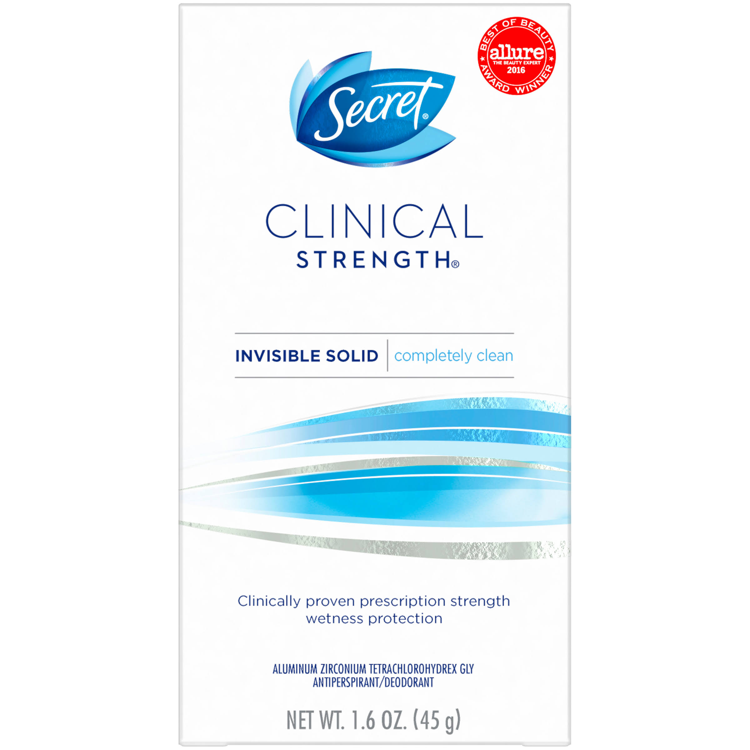 Secret Clinical Strength Completely Clean Invisible Solid Antiperspirant Deodorant - 45ml