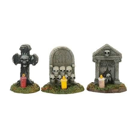Department 56 Halloween Village Figurines - Spooky Graveyard Vigil Gravestones