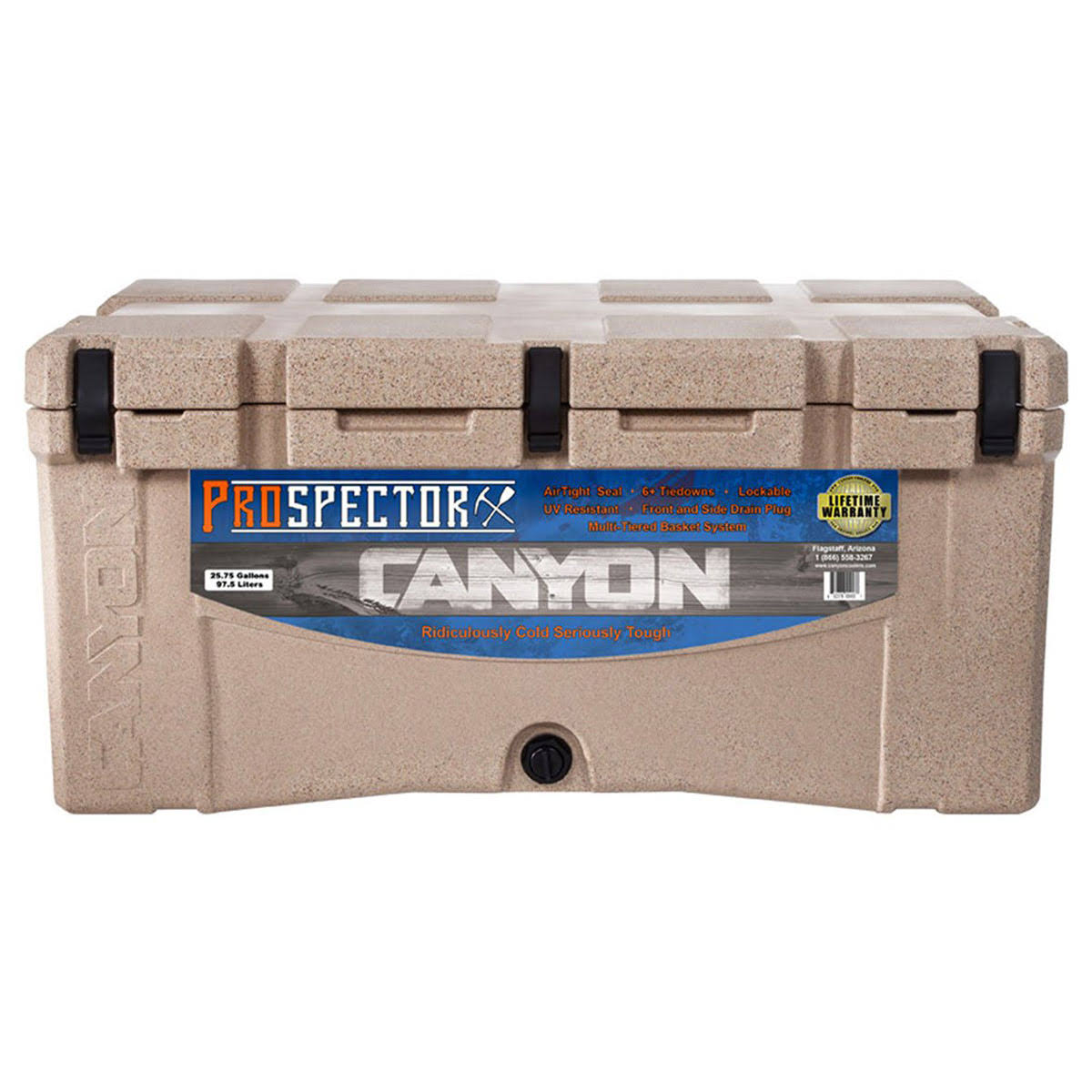 Grizzly Coolers Sandstone Grizzly Rotomolded Outdoor Cooler - 60qt