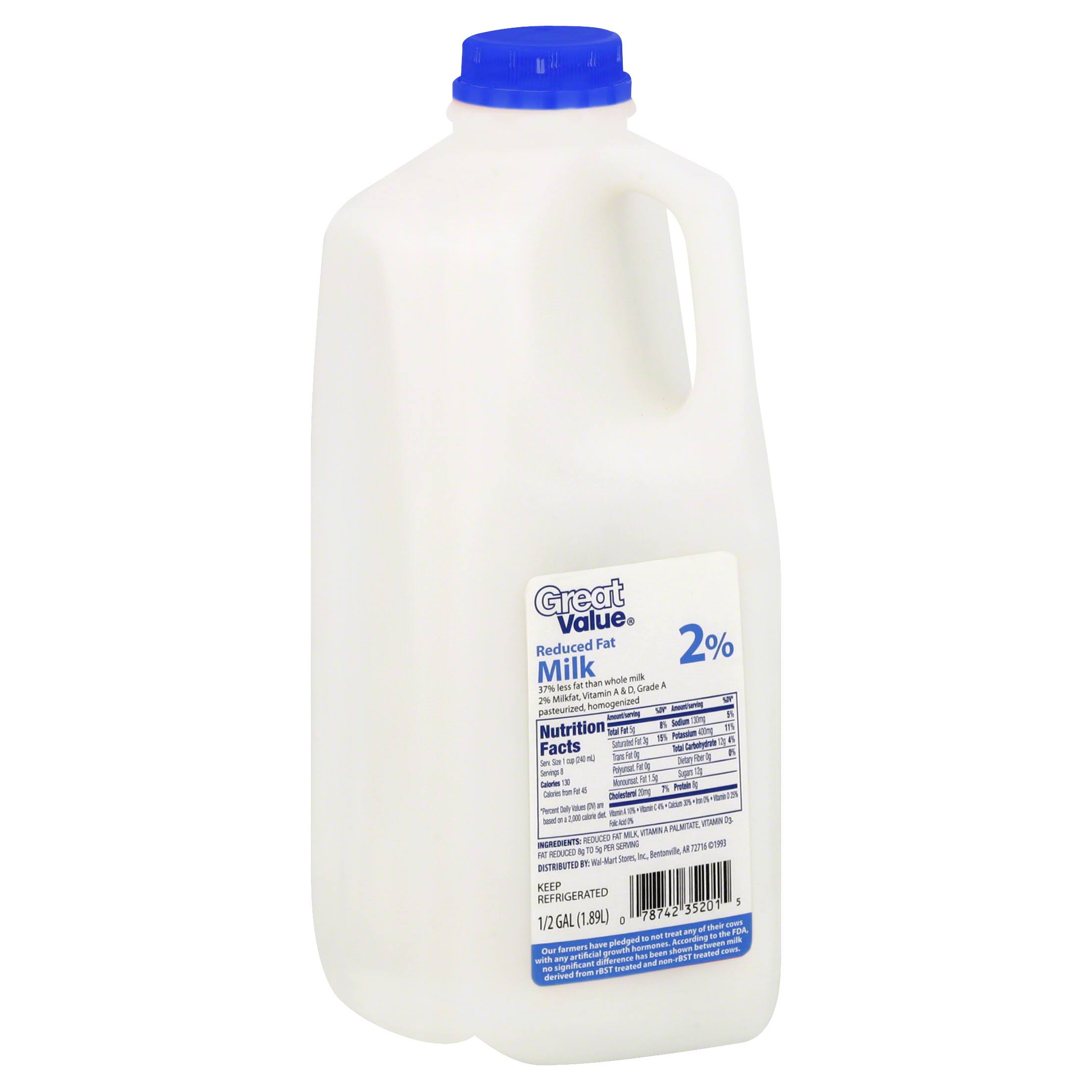 Great Value 2Percent Reduced Fat Milk - 1/2gal