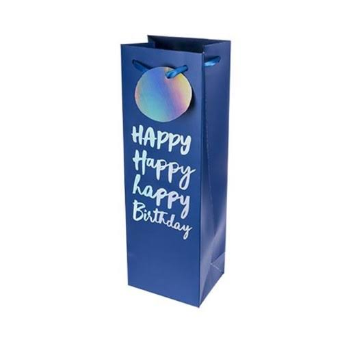 Cakewalk 7034 Very Happy Birthday Single-Bottle Wine Bag, Blue