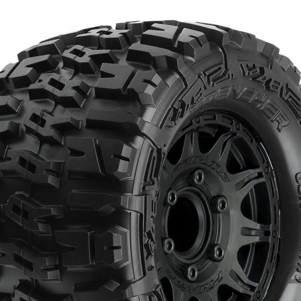 Proline Racing PRO117010 2.8 in. Trencher All Terrain Tire Mounted on Raid - Black Wheels