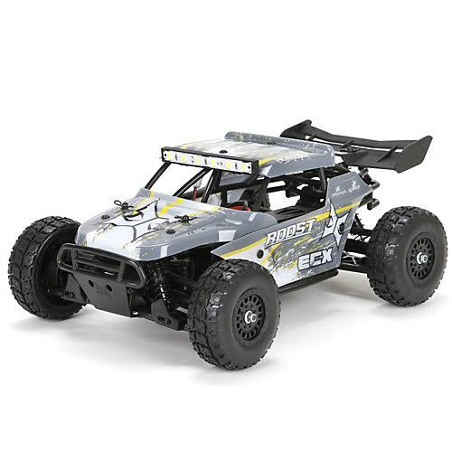 ECX RTR Ecx01005t2 4wd Desert Buggy Car Toy - 1:18 Roost, Grey and Yellow