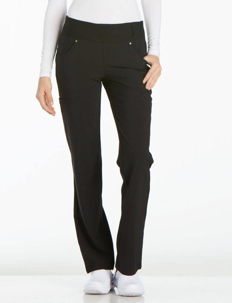Cherokee CK002 Mid Rise Straight Leg Pull-On Pant - Black - 2XL