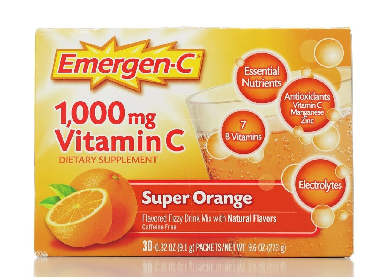 Emergen C Vitamin C Super Orange Flavored Fizzy Drink Mix Dietary Supplement - 1000mg, 0.32oz, 30pk