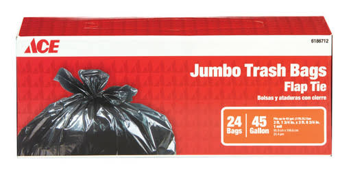 Ace Trash Bags, Flap Tie, Jumbo, 45-Gallon - 24 count box