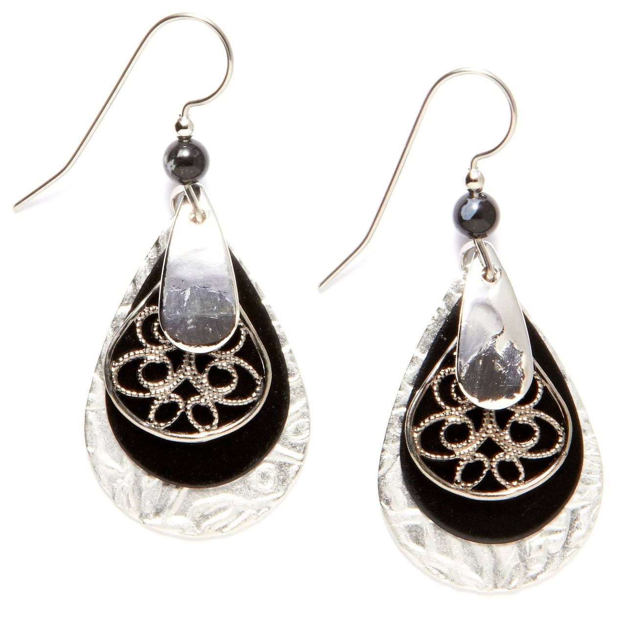 Silver Forest Surgical Steel Layered Teardrop Filigree Earrings