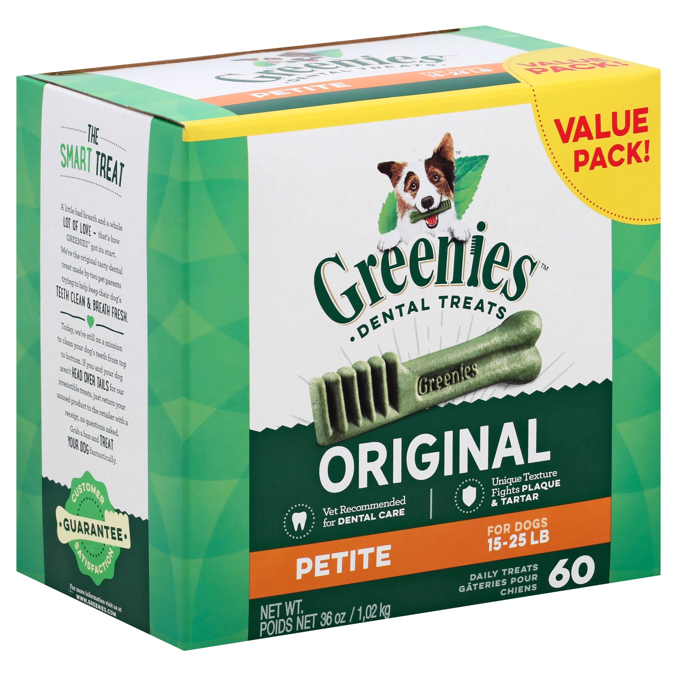 Greenies Original Dog Dental Chews Dog Treats - Petite, 36oz