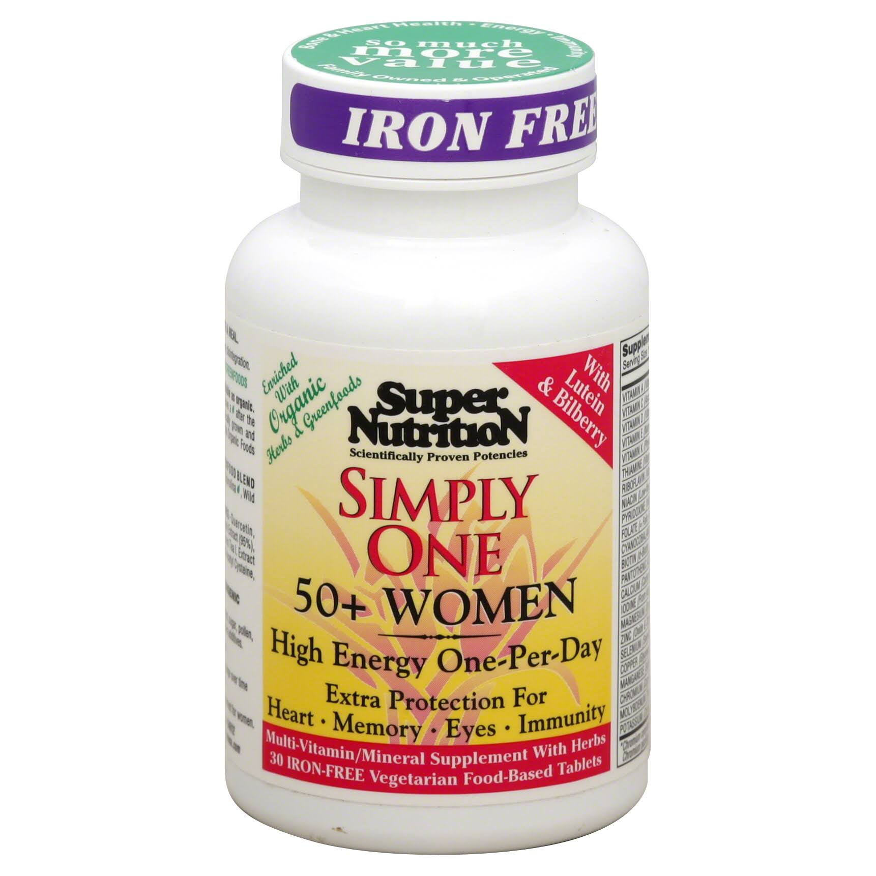 SuperNutrition Simply One 50 Plus Women Dietary Supplement - Iron-Free, 30 Count