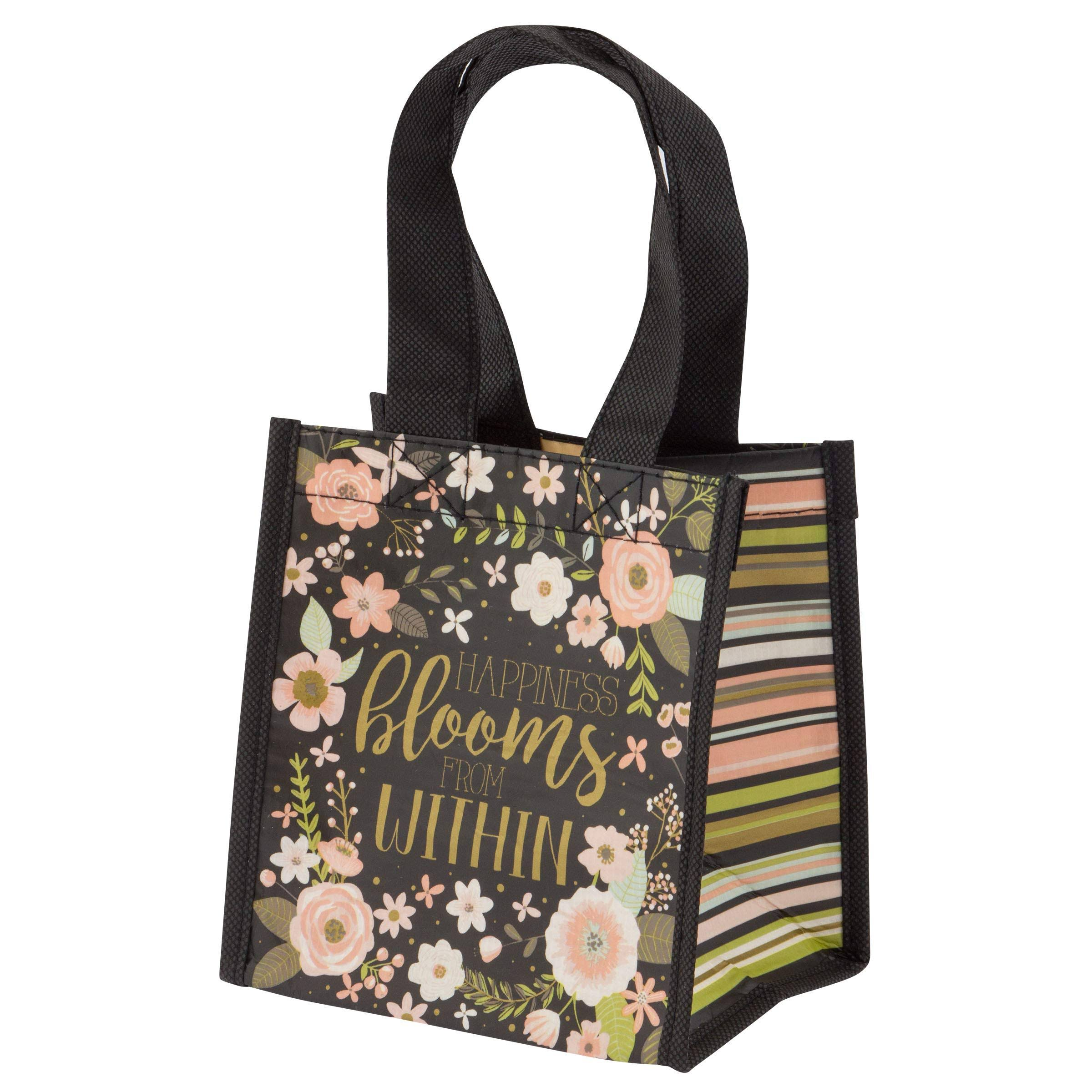Small Gift Bag Charcoal Flowers - Pink