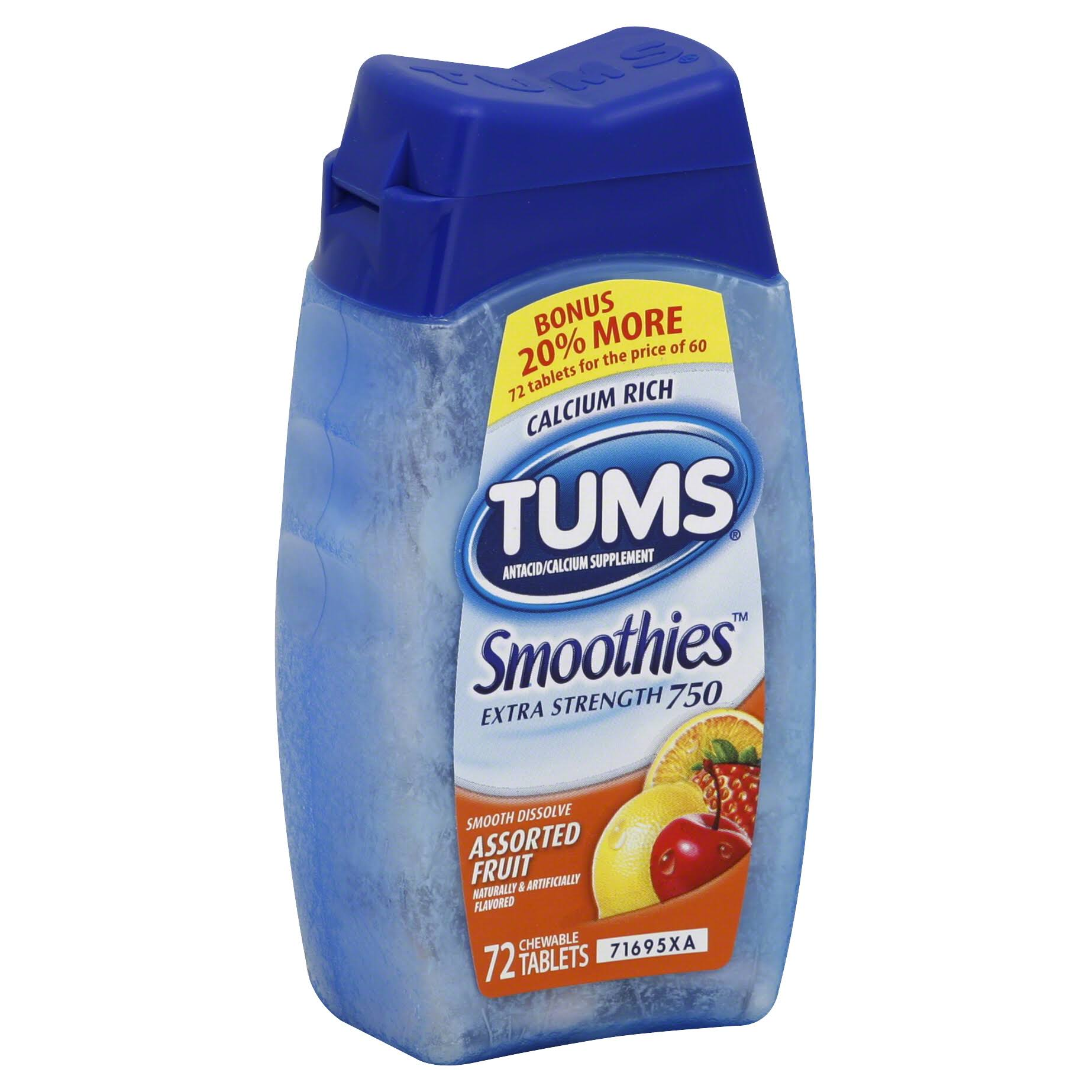 Tums Antacid Smoothies Supplement - Extra Strength 750, Assorted Fruit, 72ct