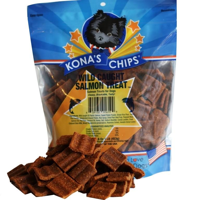 Kona's Chips Wild Caught Salmon USA Dog Treats, 16-oz Bag