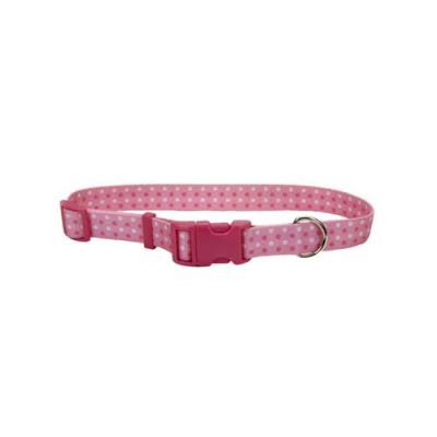 "Coastal Pet Attire Nylon Adjustable Dog Collar - Polka Dot Pink, 3/4"" x 20"""