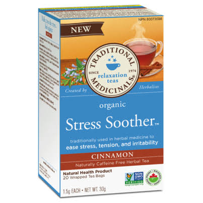 Traditional Medicinals Organic Stress Soother Herbal Tea - Cinnamon, 20 Tea Bags