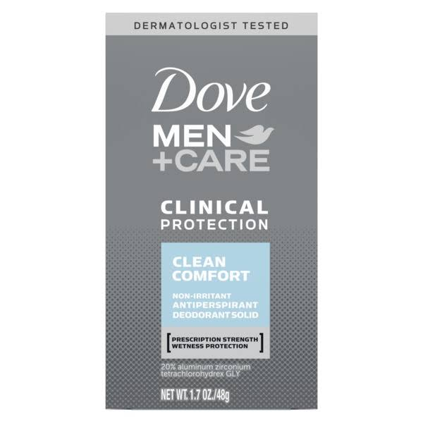 Dove Men + Care Clinical Protection Antiperspirant Solid Deodorant - Clean Comfort, 1.7 oz