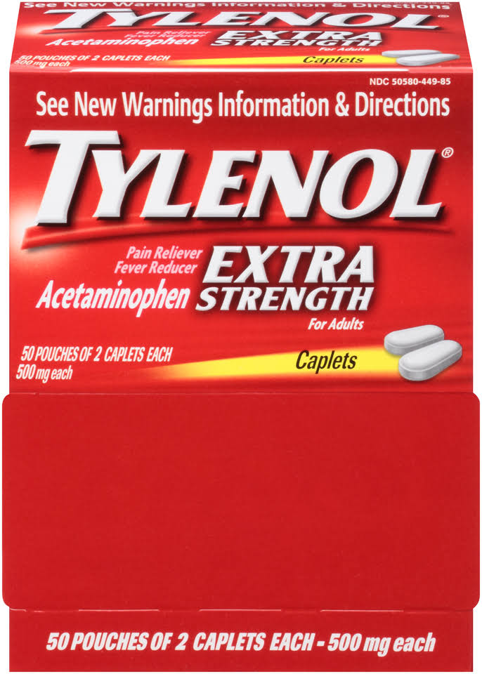 Tylenol Pain Reliever/Fever Reducer, Extra Strength, Caplets, 500 mg - 50 pouches