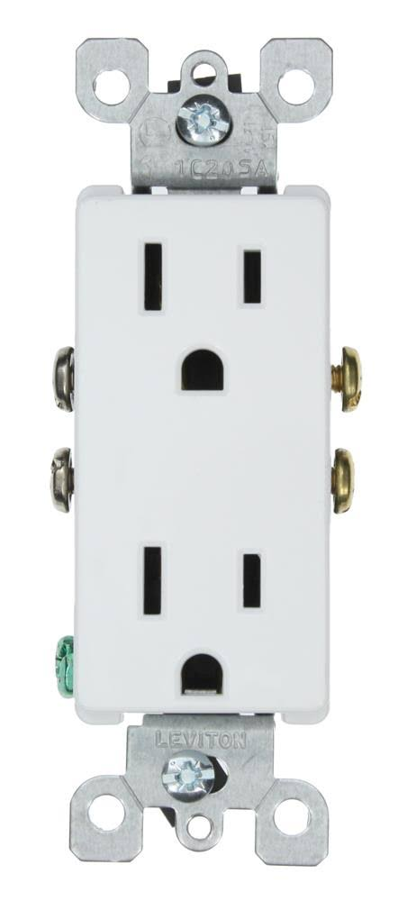 Leviton Decora 15 Amp Duplex Outlet - White