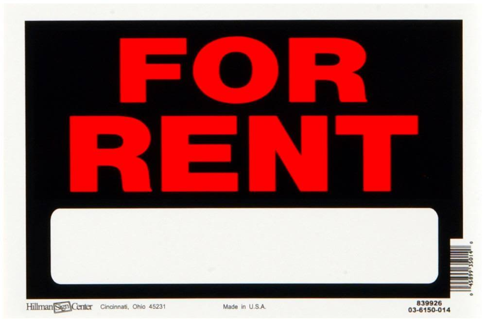 "The Hillman Group 839926 For Rent Sign - Red and White, Plastic, 8"" x 12"""