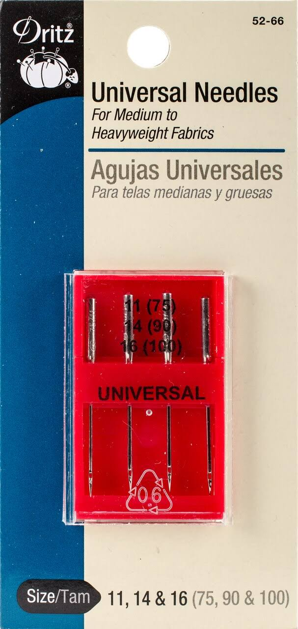 Dritz Universal Machine Needles - Size 11, 14 and 16, 4pcs