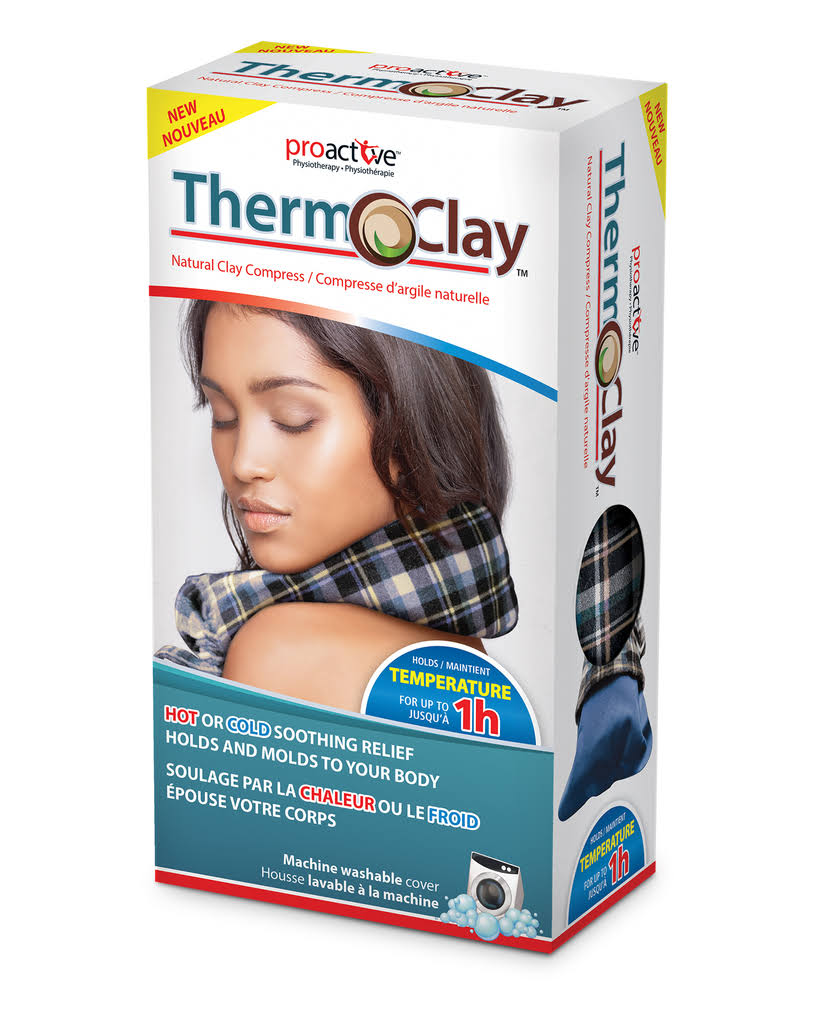 Proactive Therm-o-clay Reusable Hot or Cold Natural Clay Compress for Pain Relief, Blue
