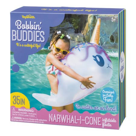 Toysmith Bobbin' Buddies Narwhal-I-Cone Inflatable Pool Toy