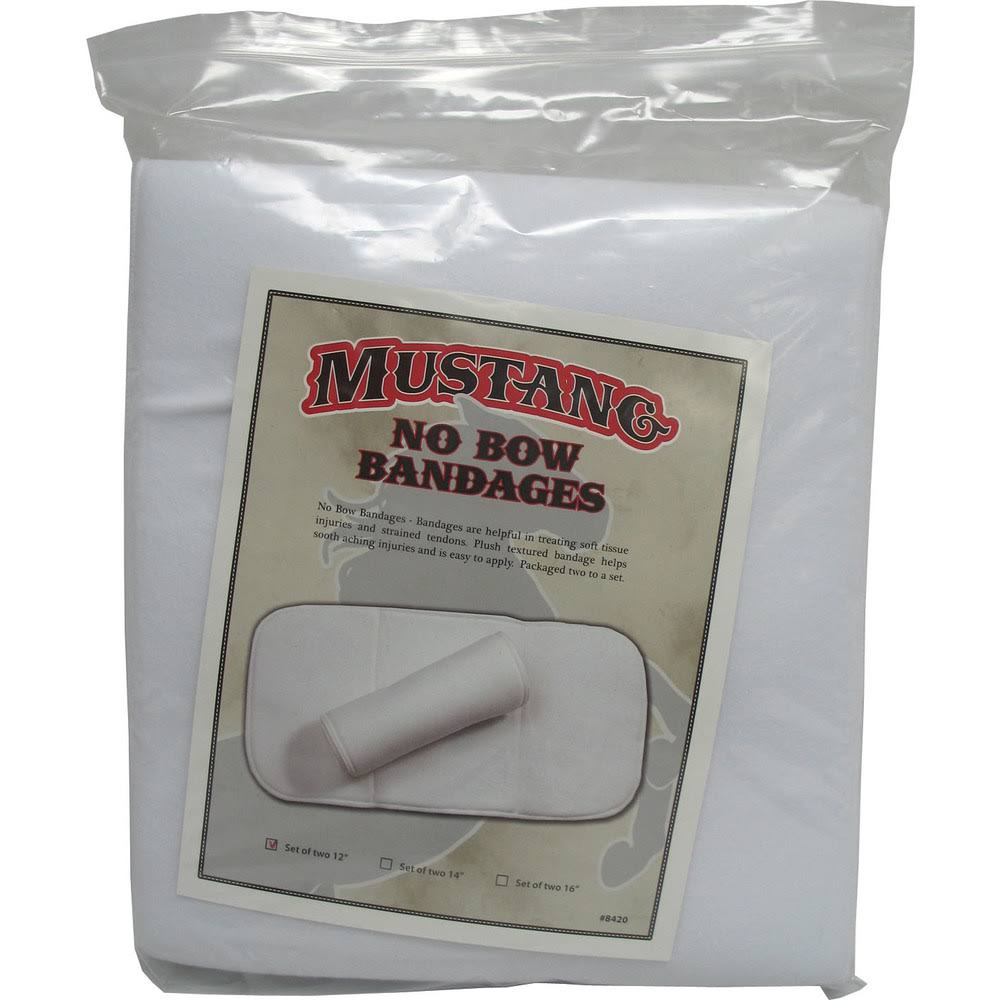 Partrade P - No Bows Bandage Wrap for Horses - White 12inch / 2 Pack
