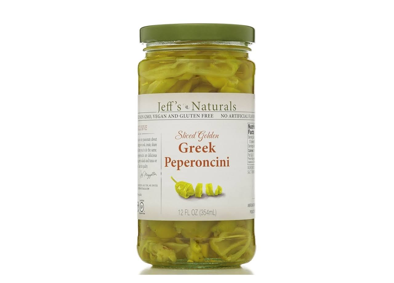 Jeffs Naturals Sliced Golden Greek Peperoncini - 345ml